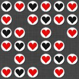 Big red gray lonely heart badges Valentines Day seamless pattern. Big red gray lonely heart badges lovely sewed romantic Valentines Day seamless pattern on gray Stock Photography