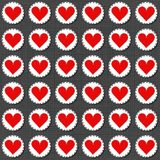 Big red gray lonely heart badges Valentines Day seamless pattern. Big red lonely heart badges lovely sewed romantic Valentines Day seamless pattern on gray Stock Photos