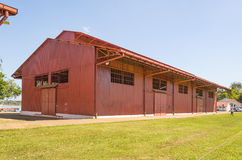 Big red hangar on Estrada de Ferro Madeira-Mamore Royalty Free Stock Photos