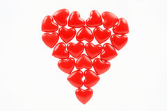 The big red heart. Consisting of small hearts Stock Photo