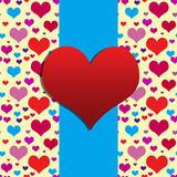 Big red heart. On blue background and hearts seamless pattern. The Valentine's day Stock Images