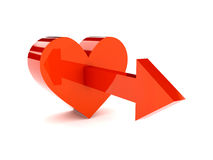 Big red heart with arrow pointing forward. Concept 3D illustration Royalty Free Stock Photo