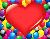 Big red heart balloons. Illustrated big red heart surrounded by colorful balloons Stock Illustration