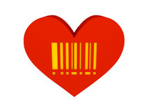 Big red heart with barcode symbol. Concept 3D illustration Royalty Free Stock Image