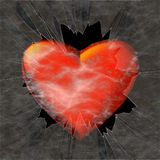 Big red heart behind shattered glass Stock Photography