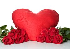 Big red heart with a bunch of a red roses Stock Image