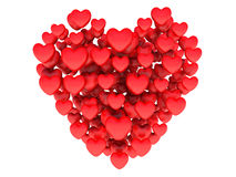 Big red heart consisting of small hearts Stock Photos