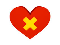 Big red heart with cross symbol. Concept 3D illustration Stock Image