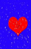Big red heart with drops of tears Royalty Free Stock Photo