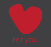 Big red heart. Hand drawn vector illustration with copy space Royalty Free Stock Photo