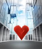 Big red heart love in new modern business city street. Illustration Stock Images