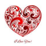 Big red heart made of curls Royalty Free Stock Image