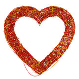 Big Red Heart Made of Fibre, Isolated On White Background, 3D Re Stock Photography