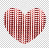 Big red heart made of kissmarks  on transparent backgrou. Nd, symbol of love and passion, element for valentines day or wedding greeting card. Vector Royalty Free Stock Image