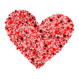 Big red heart made from small circles on white background Stock Image