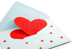 Big red heart on the mail envelope Stock Images