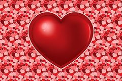 A big red heart on many varicoloured hearts texture stock illustration