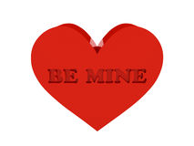Big red heart. Phrase Be Mine cutout inside. Concept 3D illustration Stock Photo
