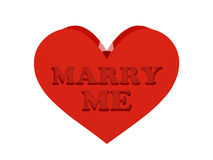 Big red heart. Phrase MARRY ME cutout inside. Concept 3D illustration Stock Images