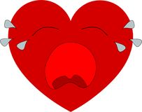 Big red heart with a sad face. Bis red heart with a sad face isolated on white background Stock Photo