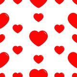 Big red heart Seamless Pattern. Wrapping paper, textile template. Happy Valentines Day sign symbol. White background. Love card. I. Solated. Flat design. Vector Stock Photos