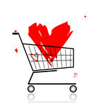 Big red heart in shopping cart Stock Image