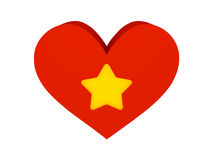 Big red heart with star symbol. Stock Image
