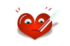 Big red heart with thermometer Royalty Free Stock Images