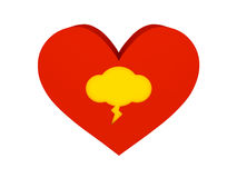 Big red heart with thunder cloud symbol. Stock Images