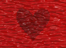Big red heart in a transparent waves water Royalty Free Stock Photography