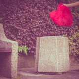 Big red heart on trash can Stock Image