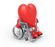 Big red heart on a wheel chair. Big red heart with arms and legs on a wheel chair isolated 3d illustration Royalty Free Stock Photo