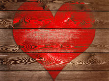 Big red heart. On wooden panel Royalty Free Stock Images
