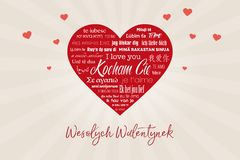 Big red heart with the words `I love you` in many languages