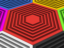 Big red hexagon - colorful hexagons surrounding it. Abstract background Royalty Free Stock Photos