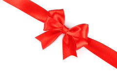 Big red holiday bow Stock Photos