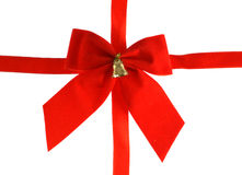 Big red holiday bow with bell Stock Photography