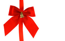 Big red holiday bow with bell Stock Photo