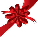 Big red holiday bow on white background Royalty Free Stock Photo