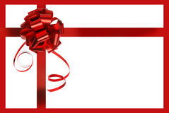 Big red holiday bow on white background Stock Photo