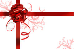 Big red holiday bow on white background Royalty Free Stock Photography
