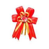 Big red holiday bow on white background Stock Images