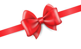 Big red holiday bow on white background. Realistic vector illustration Stock Photography