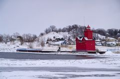 Big Red Holland Lighthouse Royalty Free Stock Photography