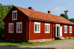 Big red house. With white windows Royalty Free Stock Photo