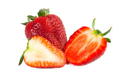Big red juicy rich strawberries with pedicle Royalty Free Stock Images