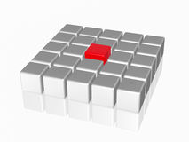 The big red leader in the center of the group. Group of 3d white-grey cubes with one big red in the middle Royalty Free Stock Images