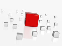 The big red leader in the group. Group of 3d white-grey cubes with one big red in the middle Stock Photos