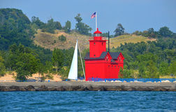 Big Red Lighthouse Stock Photography