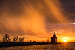 Big Red lighthouse Royalty Free Stock Photos